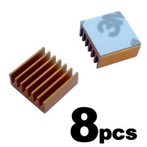 Lot of 8pcs Aluminum Memory Chipset Heatsinks 14mm x 14mm x 6mm - Gold