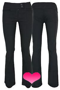 Ladies Girls Black School Work Trousers Quality STRETCH Fit 6-14 & 3 Leg Lengths