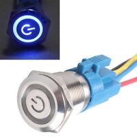 19mm 12V Auto Leistung Schalter Drucktaster Taster Beleuchtet Blau Steckdose