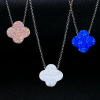 Charm 925 Silver Blue&White Fire Opal Gems Multi-Color Clover Pendant Necklace!!