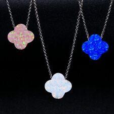 925 Silver Blue&White Fire Opal Gemstone Clover Pendant Necklace Wholesale !!
