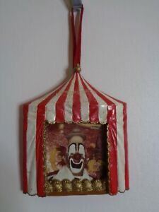 """Circus Big Top Picture Frame Christmas Ornament Clown 4"""""""