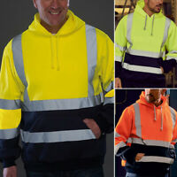 Hi Viz Hoody Men's Safety Hooded Sweatshirt Hoodie Uniform Reflective Work Tops