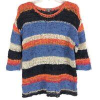 J Jill Blue Orange Wide Multicolor Striped Loose Open Knit Sweater Womens Size M