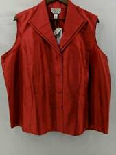Talbots Womens Vest Red 100% Silk Sleeveless Button Front Career Plus 22W New