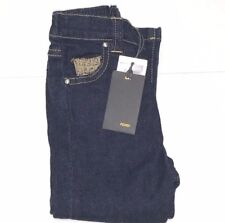 FENDI New Boys Toddler STRETCH YELLOW THREAD LOGO JEANS Sz: 18M RTL $239 P210