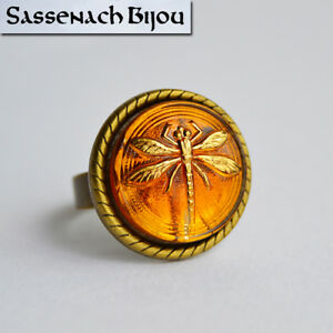 LAST ONE Dragonfly in Amber Czech Glass Bronze Adjustable Ring Outlander Jewelry