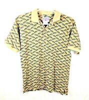 Vtg WRANGLER Rugged Wear Mens M Med Beige Leaf Print S/S Cotton Polo Rugby Shirt