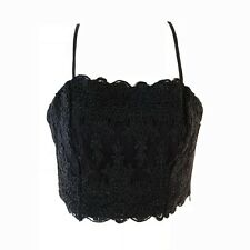 Kendall + Kylie Womens Crop Top Size S Black Lace Tie Straps