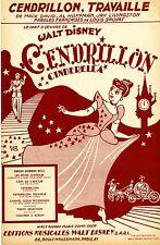 """CENDRILLON, TRAVAILLE"" Partition originale du film ""CENDRILLON"" de Walt DISNEY"
