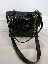 CHANEL black patent leather handbag w/ gold chain hardware