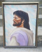 Vintage Oil On Canvas Hand Painted Signed Jesus Christ Painting Gold Gilt Frame