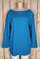 LIZSPORT Womens Size Medium Long Sleeve Shirt Boat Neck Blue 100% Cotton Top