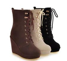 Womens Platform European Combat Suede Mid Calf Boots Wedge Heel Shoes Sz35-43