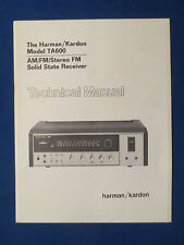 HARMAN KARDON TA600 RECEIVER TECHNICAL SERVICE MANUAL ORIGINAL GOOD CONDITION