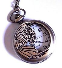 PHOENIX CLOCK  wing fire bird feather bronze Pocket watch chain OR necklace G1