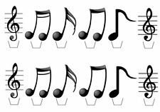 24 Musical Notes Edible Cupcake Fairy Cake Wafer Toppers **Standups**