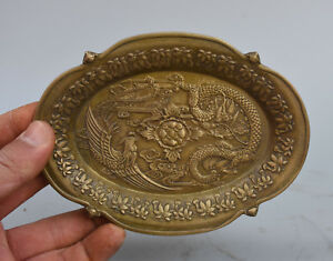"6"" Marked Chinese Pure Copper Bronze Flying Dragon Phoenix Statue Tray plate"