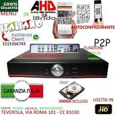 DVR 8 Canali AHD CON HARD DISK 500GB P2P CLOUD WEB SERVER PTZ HDMI IBRIDO