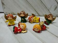 Vtg Enesco Christmas Angel Figure tree Ornaments Lot of 6 red green yellow (p)