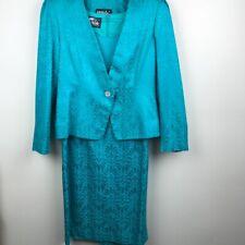 Vintage 70s Ursula of Switzerland Teal Jacquard Dress + Matching Jacket Size 8