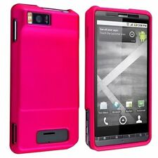 Hard Rubberized Case for Droid X MB810 - Hot Pink