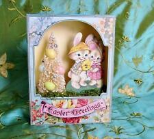 Bethany Lowe Easter Greetings Shadow Box Bunnies Bottle Brush Tree Diorama