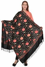 "Crewel Embroidered Black Floral Wool Shawl Multicolored Kashmir Art 80""40"" Wrap"