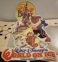 Vintage Disney Beauty and the Beast World On Ice Banner Pennant Flag