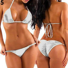 LK_ Women's Fashion Metallic Bikini Top + Bottom Beachwear Stripper Wear Note