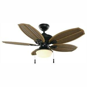 Hampton Bay Palm Beach III 48 in. LED Indoor/Outdoor Natural Iron Ceiling Fan