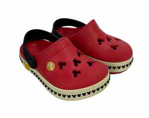 Crocs Disney Mickey Mouse Child Sz 4/5 Red Slides Clogs Slip On Sandals