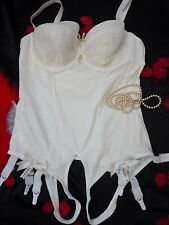 RARE VINTAGE PIN UP IVORY OPEN BOTTOM CORSELETTE CONTROL BODY,6 SUSPENDERS 46D