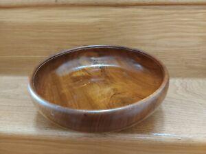Vintage Wooden Large Fruit Salad Bowl 3 ball feet. Centre piece. 25cm diameter.