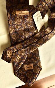 NWT Brioni print paisley silk tie in navy, olive, burgundy and dark orange Italy