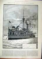 Original Old Antique Print 1887 Ships Queen Jubilee Naval Review H.M.S Ajax 19th