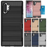 For Samsung Galaxy Note 10 / 10 Plus 5G Rugged Armor Card Slot Wallet Case Cover