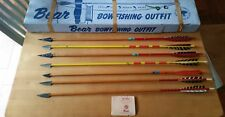VINTAGE BEAR BOW FISHING OUTFIT ARCHERY WOOD ARROWS HUNTING LOT ALL ORIGINAL