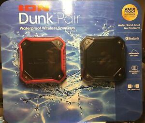 ION Dunk IPX7 Waterproof Portable Float Bluetooth Speaker 2 Pack Black & Red New