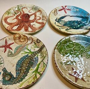 Pier 1 Speedy & Friends Melamine Plates Sea Turtle Octopus Seahorse Set of 4