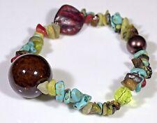 """Women's Gemstone Chips w mixed media beads - 6.50"""" Stretch bracelet"""