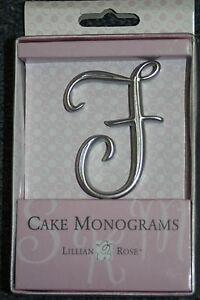 "Letter F Silver 2 1/2"" Monogram 25th Anniversary Wedding Cake Topper Pick"