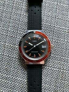 Vintage Timex Coke bezel diver watch, manual wind, 1980 production