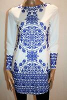 FAVOLOOK Brand Blue White Floral Long Sleeve Mini Dress Size M BNWT #SA109
