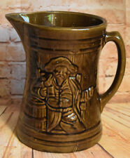 McCoy Pottery Buccaneer Drinking Man Large Brown Pitcher Vintage Stoneware 1920s