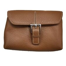 Etienne Aigner Laredo ID Credit Card Sleeve Small Wallet Brown Leather Pebbled