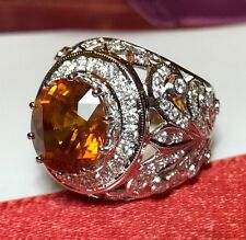 Art Deco 7.96TCW Yellow Sapphire & Diamonds in 18K solid white gold Ring Vintage