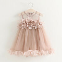 Kids Toddler Baby Girl Princess Dress Floral Pageant Wedding Party Tutu Dress US