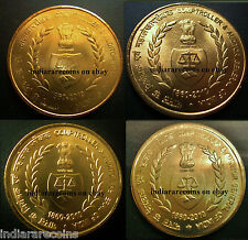 India CAG Auditor Book Wreath Scale Full 4 Coin Set UNC New 2010 Brass 5 Rs