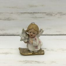 "1999 Walnut Ridge A Glimmer Of Hope IV Skiing Angel Girl Ornament 3"" #B"